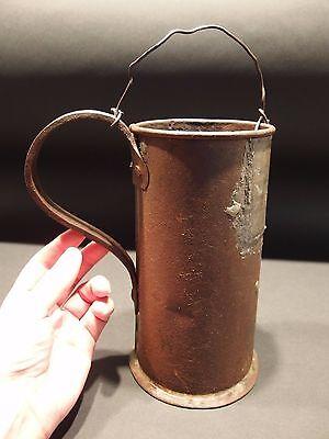 Large Antique 18th C Rev War Era Forged Iron Mug Tankard Coffee Boiler Stein