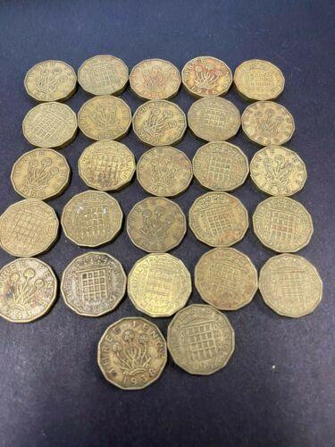 English UK coin lot Three Pence coins 448