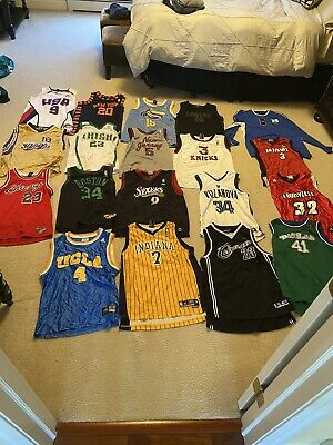 NBA, NFL, MLB, Youth Large & X-Large Jersey Lot. All-Stars and Throwback jerseys