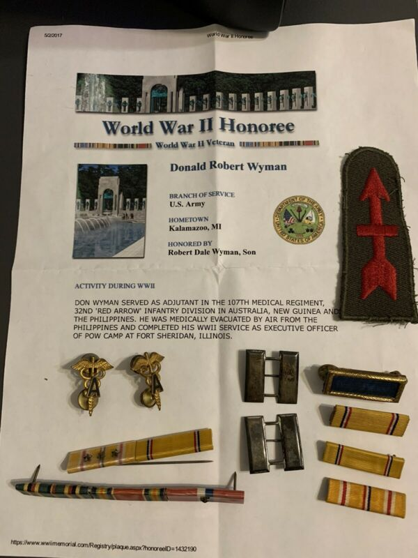 32nd Infantry Division 107th Medical Officer Named Grouping WWII Ribbons