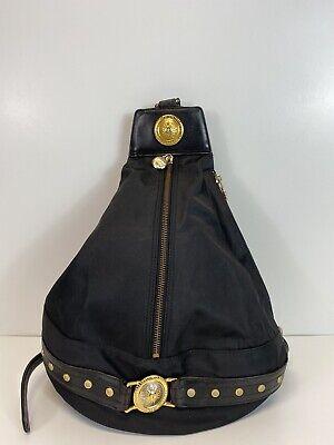 Rare Vtg Gianni Versace 90s Black Leather Backpack