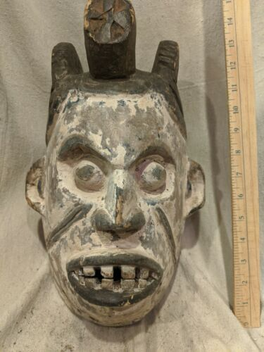 Ceremonial Mask with Pigment — Great Carved Details — Authentic African Wood Art