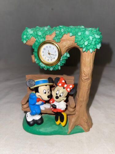 "Disney Mickey & Minnie Mouse On Park Bench Clock 4.5 "" Figurine"