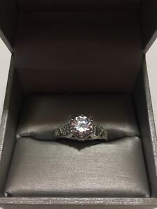 Size 10 sterling silver & crystal ring.