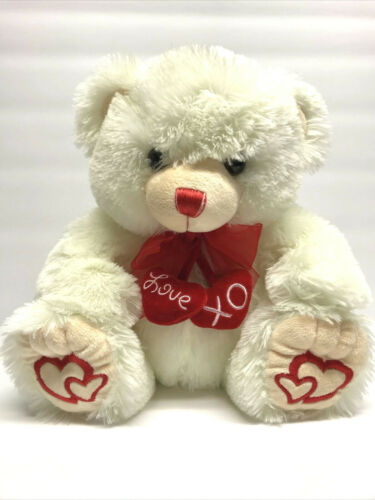 Ático International Teddy Bear Ivory Valentine Plush Stuffed Animal Sitting 12""