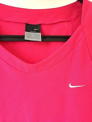 Women's Ladies NIKE Dri-Fit Bright Pink Gym Top Vest Medium 10-12 Race For Life
