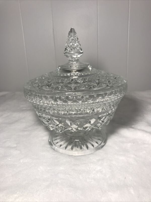 Vintage Cut Crystal Pedestal Candy Dish With Lid