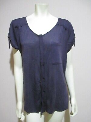 Anthropologie C Keer Charcoal Gray Tab Sleeve Button Front Tee Jersey Knit Top L
