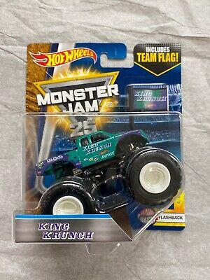 Hot Wheels Monster Jam Truck KING KRUNCH 1:64 scale Flashback withTeam Flag NEW!