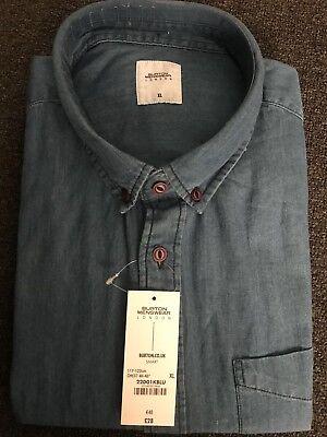 Burton Menswear London BNWT Long Sleeve Denim Blue Shirt. (LARGE)