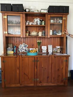 Dresser sideboard display cabinet.Solid timber.