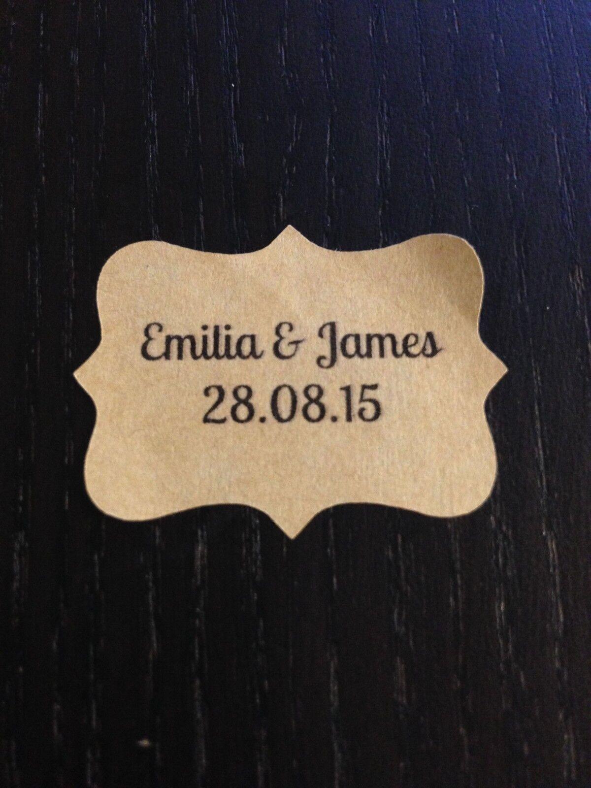 28x Vintage Power Braun Hochzeit Papier Aufkleber Etiketten