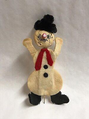 Two Vintage Handmade Felt Snowmen Ornaments