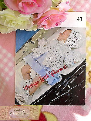 (Vintage Crochet Pattern Baby's Matinee Coat, Bonnet, Mitts & Bootees FREE UK P&P)