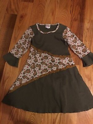 NEW NWOT Zulily Boutique Lilli Lovebird Mustard Brown Alpaca Llama Dress Size -
