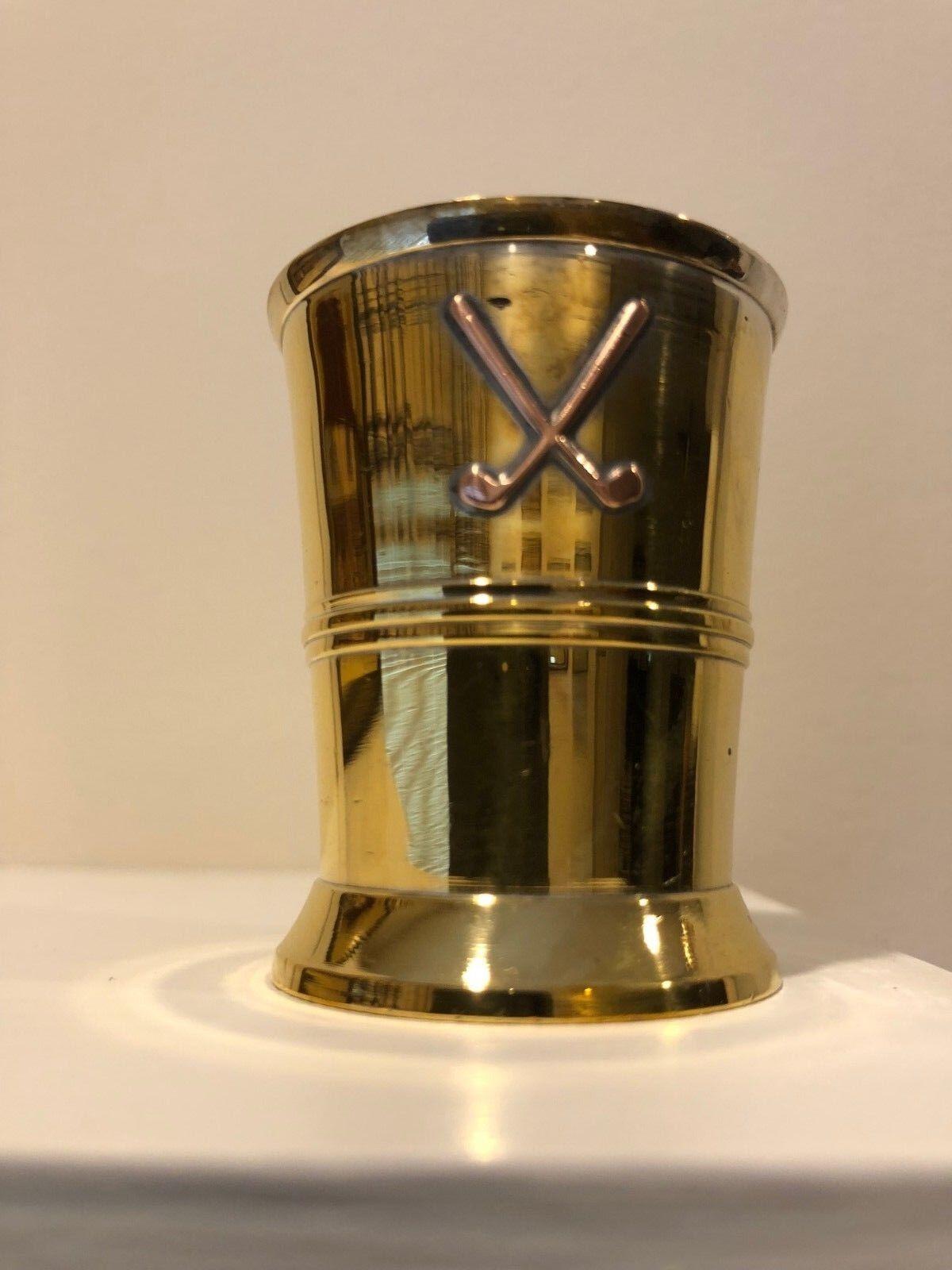Brass Shot Glass Rosewood Box/Inlaid Brass Golf Clubs NEW/TAGS FREE S H W/BIN - $20.00