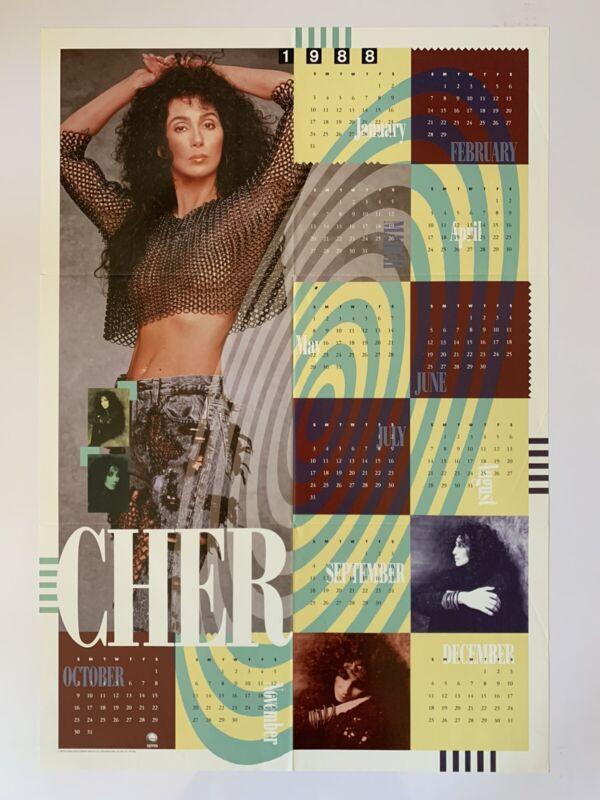 "Original 1988 Cher Promotional Calendar Poster 22.5"" x 33"" Excellent Geffen SEXY"