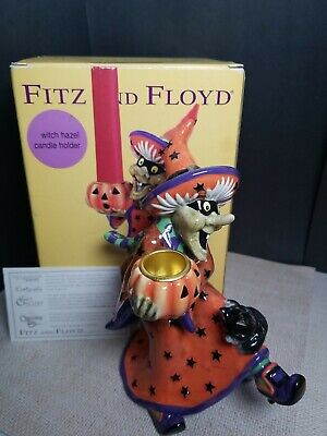 Halloween Fitz And Floyd 2003 Witch Hazel Candle Holder Black Cat With Box