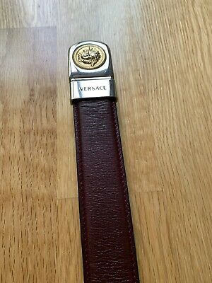 Vintage Men's Gianni VERSACE Medusa Black Brown Reversible Leather Belt, 30-34