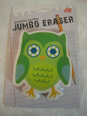 Cute Green Owl Jumbo Eraser Paperweight Green Yellow White New
