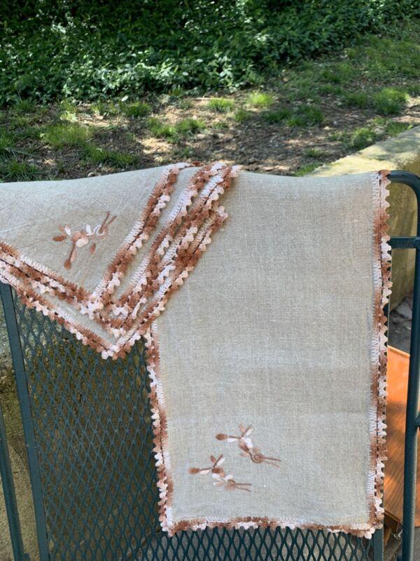 Arts&Crafts~Natural Linen Runner+4 Napkins~Hand Embroidered+Crochet~Excellent