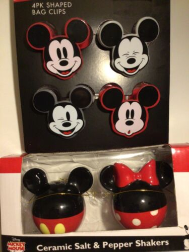 Disney Mickey & Minnie Mouse Round Salt Pepper Shakers & 4 Snack Bag Chip Clips