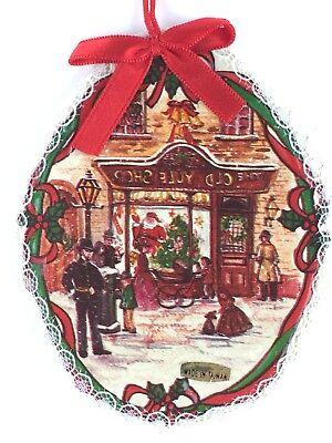 (Old Time Winter Street Scene Christmas Tree Ornament Holiday Season Decor 3 3/4