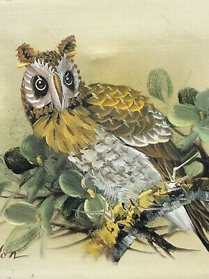 Wise Old Owl Oil Painting Signed Gordon Original Vintage Yellow Gray Green 10x8