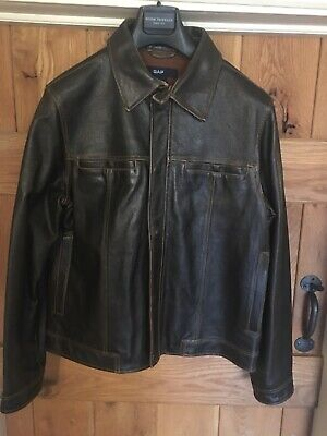 VINTAGE GAP BROWN REAL LEATHER JACKET SIZE S/P Distressed Heavy