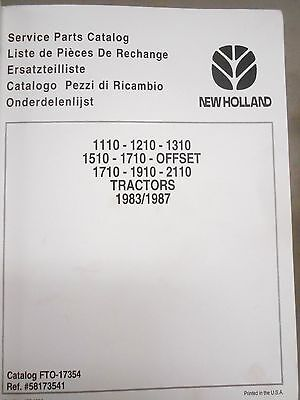 New Holland 1110 1220 1310 1510 1710 Offset 1910 2110 Tractor Parts Catalog