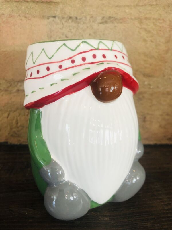 POTTERY BARN Festive Gnome Mug Coffee Cup Christmas Holiday Table 13 oz