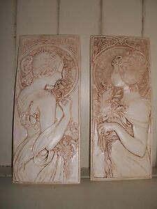 2 Art Deco Nouveau mocha architectural plaster wall hanging decorative plaques