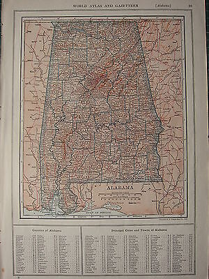 1926 MAP ~ ALABAMA STATE COUNTIES PRINCIPAL CITIES TOWNS RUSSELL PERRY CHILTON