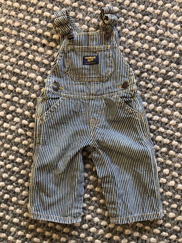 Baby Boy's OshKosh B'gosh Railroad Stripe Overalls Blue White 6 Months