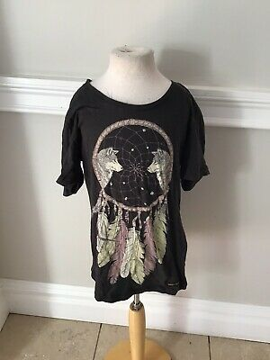 Finger In The Nose Feather Tee Top 12 /13 Nwt