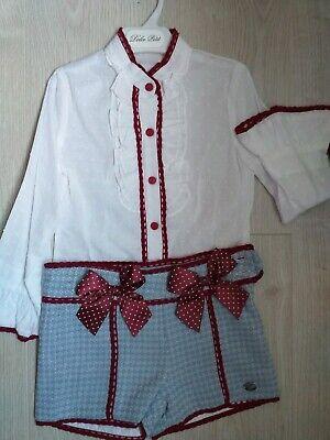 Spanish Girls Short Set Wine white blue Age 5 winter Christmas