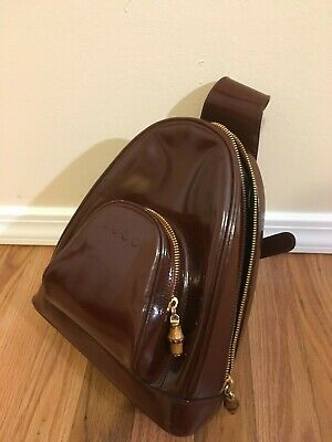Gucci Patent Brown Sling Mini Backpack RARE!