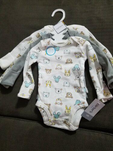 NWT Carter's Baby Newborn Bodysuit Set - 4 Long-Sleeved Gend