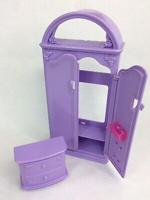 Vintage 1994 Barbie So Much to Do Bedroom Purple Wardrobe Dresser Replacement