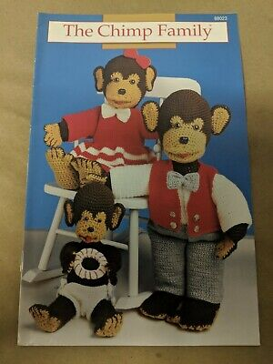 The Chimp Family ~ Papa Mama Baby Monkeys, Annie's crochet pattern leaflet H3B - Family Crochet Pattern