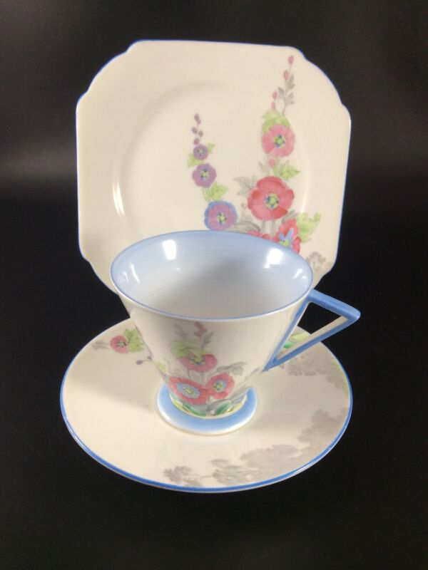 Shelley Art Deco Eve Shaped  Trio In The Rare  Pattern Number  12019  Hollyhocks