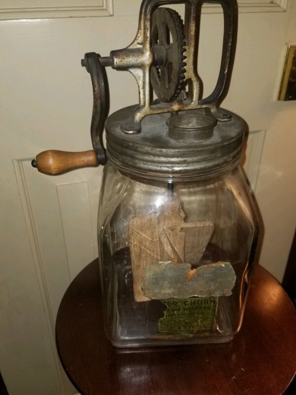 ANTIQUE ELGIN GLASS JAR BUTTER CHURN WOOD PADDLE & LABEL
