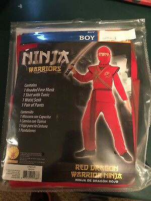 Halloween Costume Boy's Ninja Warrior, Red Dragon Medium, or  Large (Ninja Costume For Boy)