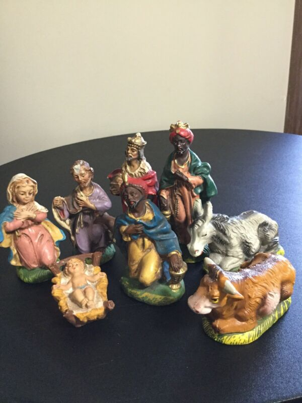 8 Pc.Vintage NATIVITY SET Christmas Manger Scene Figures ITALY