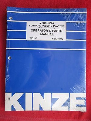 2006 Kinze Model 3800 Forward Folding Planter Operators Parts Manual M0197