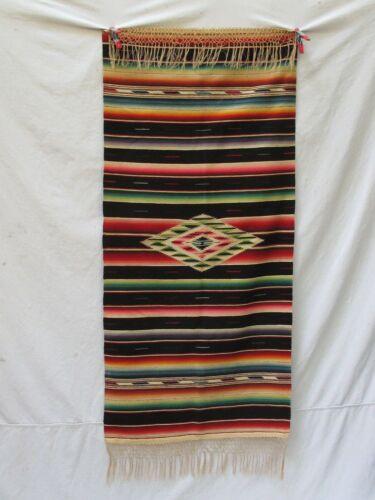 "Antique Mexican Saltillo Serape 27"" 57"""