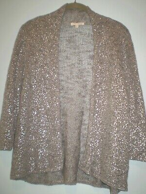 Eileen Fisher -S Size Silver Metallic Open Sequin Lux 3/4 Knit Cardigan Sweater.