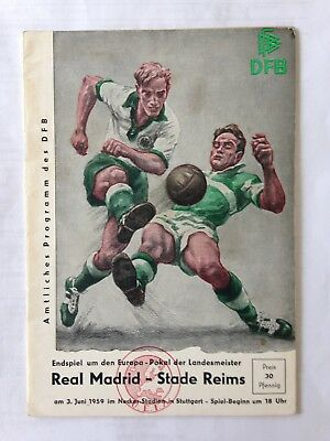 1959 EUROPEAN CUP FINAL MATCH PROGRAMME REAL MADRID V STADE REIMS