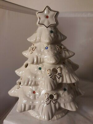 Vtg Porcelain Ceramic tree Christmas Star votive holder gold bows light display