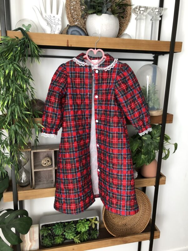 Cassie Vintage Size 4T Quilted Plaid Toddler Nightgown